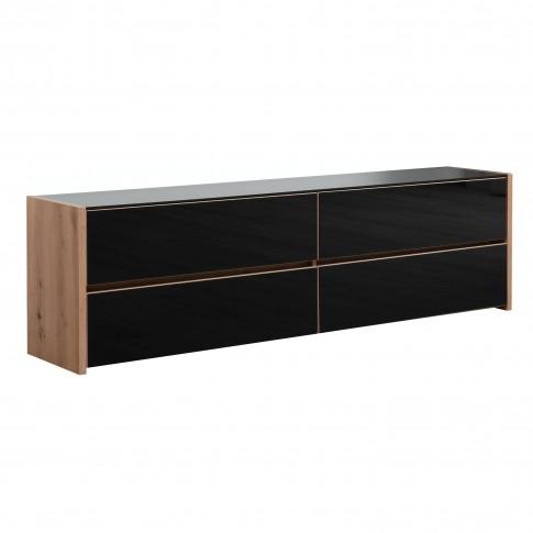 Comoda TV Molise, stejar artisan + sticla vopsita negru, 188 x 40 x 55 cm, 2C