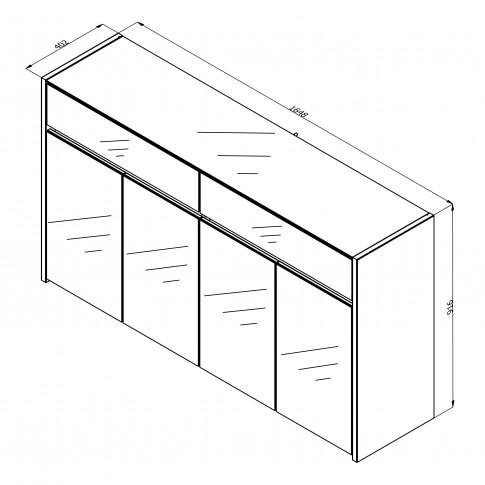 Comoda Molise 4K2F, stejar artisan + sticla vopsita alb, 165 x 40 x 91.5 cm, 3C