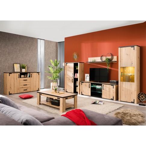 Comoda dormitor Lazio 3K3F, cu 2 usi + 3 sertare, stejar artisan + negru, 168 x 94 x 40 cm, 2C