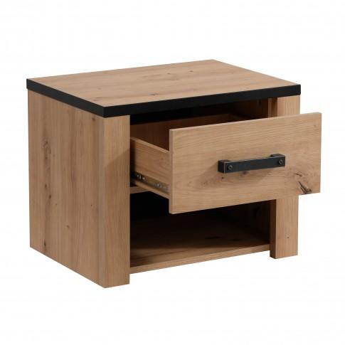Noptiera Lazio NO1F, cu 1 raft + 1 sertar, stejar artisan + negru, 53.5 x 42.5 x 40 cm, 1C
