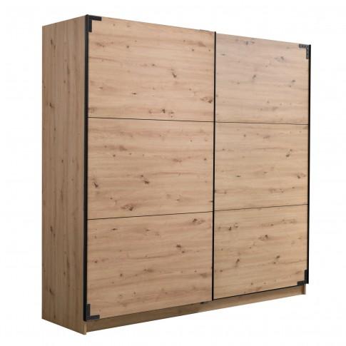 Dulap dormitor Lazio 220, stejar artisan, 2 usi glisante, 217 x 62.5 x 210 cm, 8C