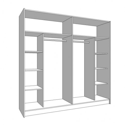 Dulap dormitor Lazio 220, stejar artisan, 2 usi glisante, cu oglinda, 217 x 62.5 x 210 cm, 8C