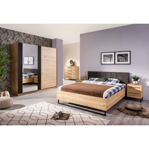 Pat dormitor Sardinia, matrimonial, tapitat, stejar artisan + gri, 160 x 200 cm, 3C