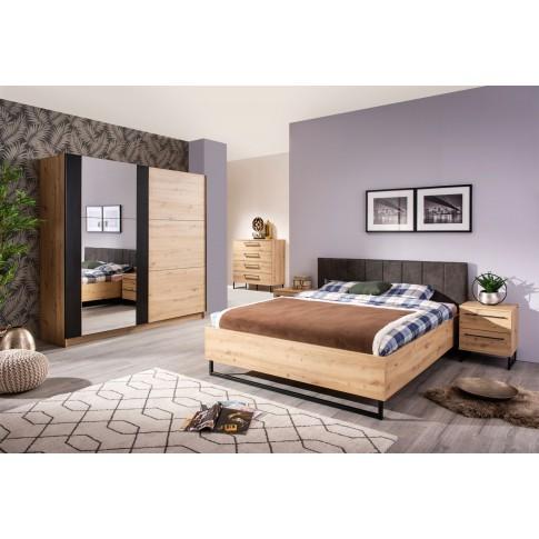 Pat dormitor Sardinia, matrimonial, tapitat, stejar artisan + gri, 180 x 200 cm, 4C