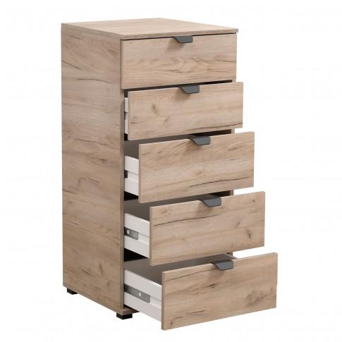 Comoda dormitor Duero 5F 45, cu 5 sertare, stejar gri, 45 x 95 x 40 cm, 1C