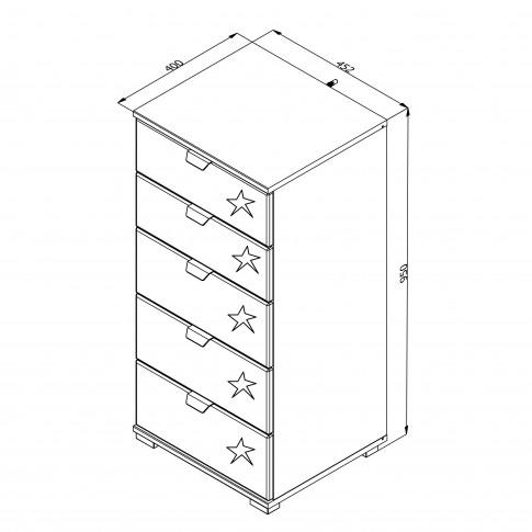 Comoda dormitor Duero 5F 45, cu 5 sertare, alb mat + folie lucioasa alba, 45 x 95 x 40 cm, 1C