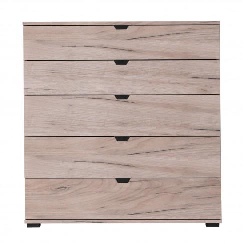 Comoda dormitor Duero 5F 90, cu 5 sertare, stejar gri, 90 x 95 x 40 cm, 1C
