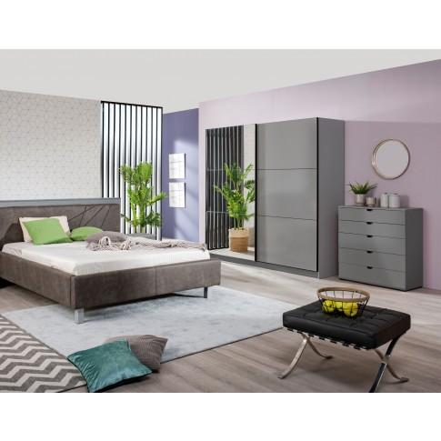 Comoda dormitor Duero 5F 90, cu 5 sertare, gri grafit, 90 x 95 x 40 cm, 1C