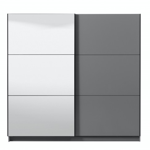 Dulap dormitor Sierra 220, gri grafit, 2 usi glisante, cu oglinda, 217 x 62.5 x 210 cm, 8C