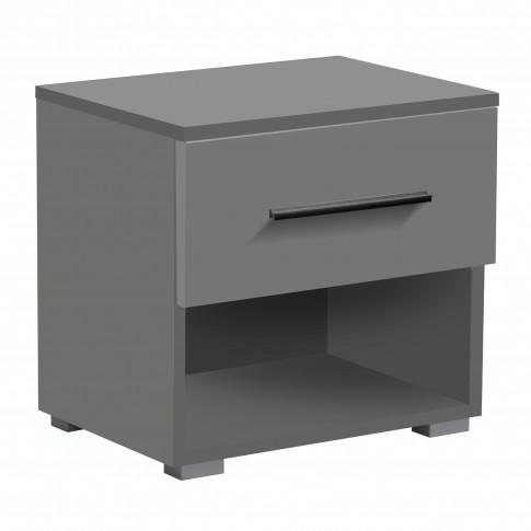 Noptiera Tomy 2NO1F, set 2 bucati, cu 1 raft + 1 sertar, gri grafit, 44.5 x 42.5 x 33.5 cm, 1C
