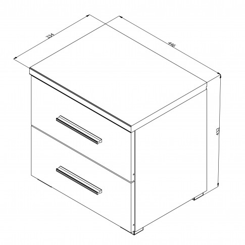 Noptiera Dado NO2F, cu 2 sertare, stejar artisan, 44.5 x 43 x 33.5 cm, 1C