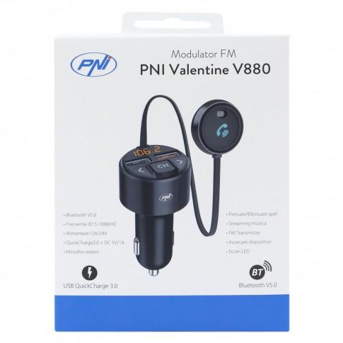Modulator FM auto PNI Valentine V880, Bluetooth, USB, incarcare rapida dispozitive mobile prin QC 3.0, compatibil cu Siri si Google Assistant