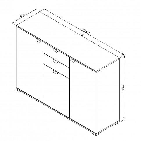Comoda dormitor Duero 3K2F, cu 3 usi + 2 sertare, stejar gri, 135 x 95 x 40 cm, 2C