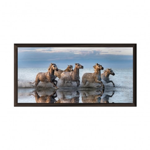 Tablou canvas 03608, Cai, inramat, panza, 54 x 104 cm