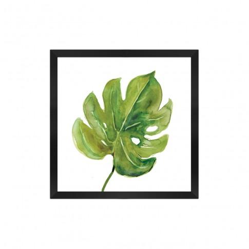 Tablou canvas 04159, Frunza verde, inramat, 20 x 20 cm
