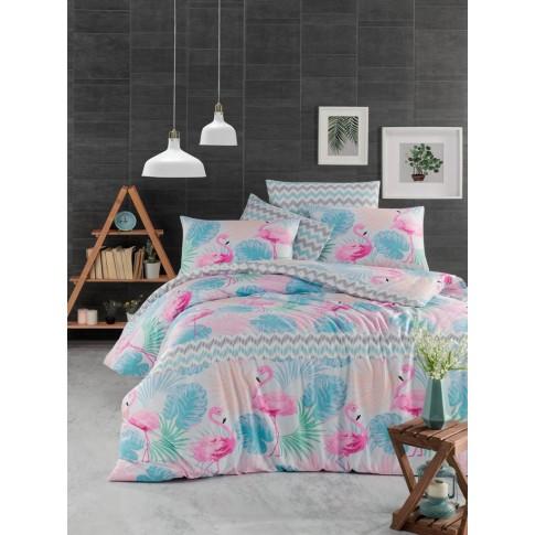 Lenjerie de pat, Flamingo, 1 persoana, bumbac ranforce 100%, 160 x 220 cm, 3 piese