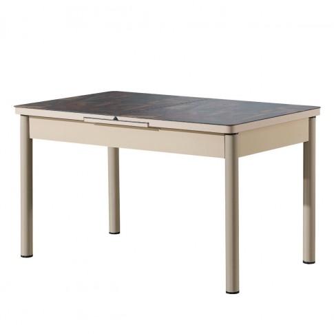 Set masa extensibila cu 6 scaune tapitate Gold 855, bucatarie, model litere, rosu + bej, 3C