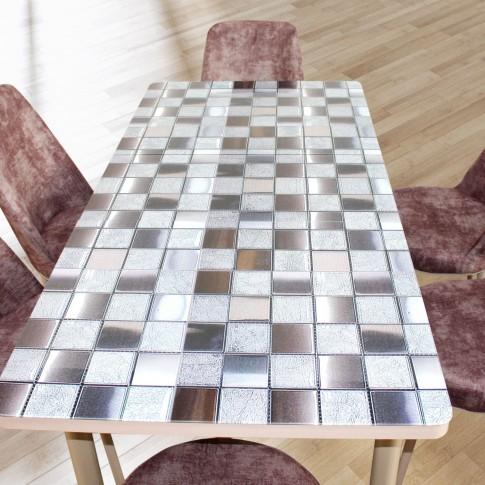 Set masa extensibila cu 6 scaune tapitate Gold 825, bucatarie, model mozaic, maro + bej, 3C