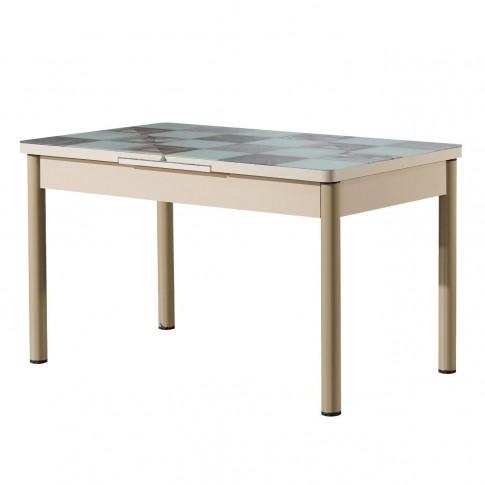 Set masa extensibila cu 6 scaune tapitate Gold 543, bucatarie, model sah, alb + bej, 3C