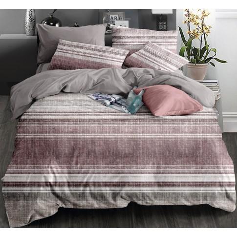 Lenjerie de pat 75A2281, 2 persoane, microfibra, roz, 4 piese