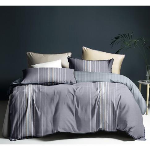 Lenjerie de pat, 2 persoane, microfibra, gri, 4 piese