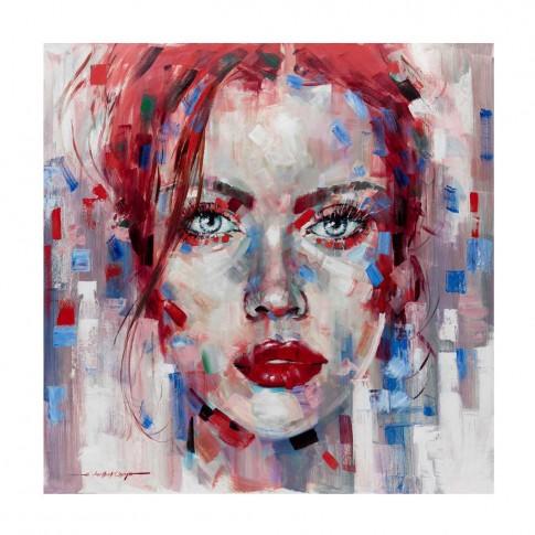 Tablou canvas Decor 04582, Portret femeie in rosu, panza + sasiu, 60 x 60 cm