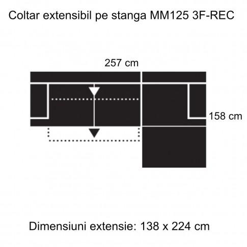 Coltar living extensibil pe stanga MM125 3F-REC, gri inchis, 257 x 158 x 85 cm, 2C