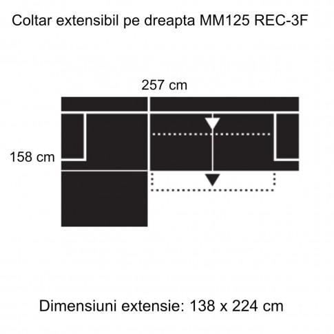 Coltar living extensibil pe dreapta MM125 REC-3F, gri inchis, 257 x 158 x 85 cm, 2C