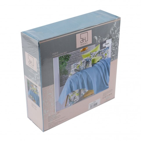 Lenjerie de pat Asya, 2 persoane, bumbac 80 %, 200 x 220 cm,  set 4 piese + cuvertura
