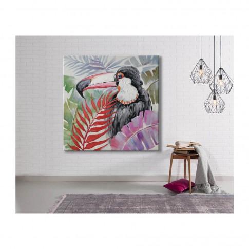 Tablou canvas DL-207070, pasari in decor tropical, panza + sasiu lemn, 70 x 70 cm