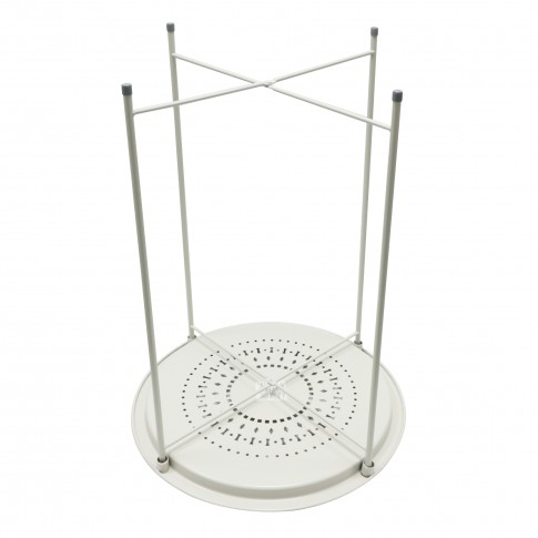 Masuta living din metal Flint, rotunda, pliabila, bej, 47 x 62 cm, 1C