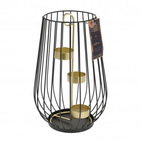 Felinar decorativ, Koopman ACC681300, metalic, negru + auriu, 25 x 15.5 cm