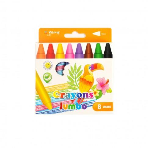 Creioane colorate cerate, Jumbo Yalong, set 8 culori