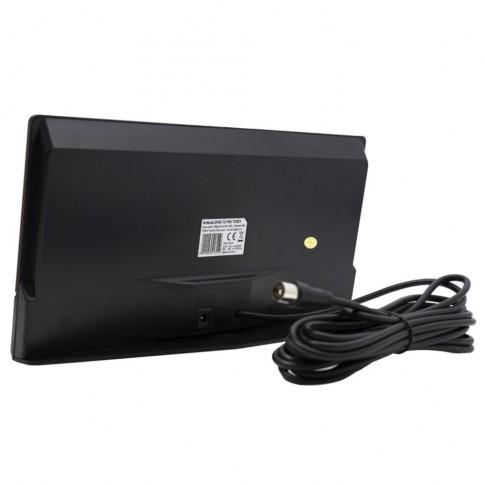 Antena TV DVB-T2, PNI TV801, cu amplificator, pentru semnal TV digital, 30 dB, FM / VHF / UHF, de interior, cablu 4 metri