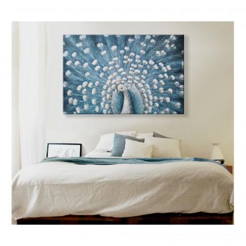 Tablou canvas XM20548, paun alb, panza + sasiu lemn, 90 x 60 cm