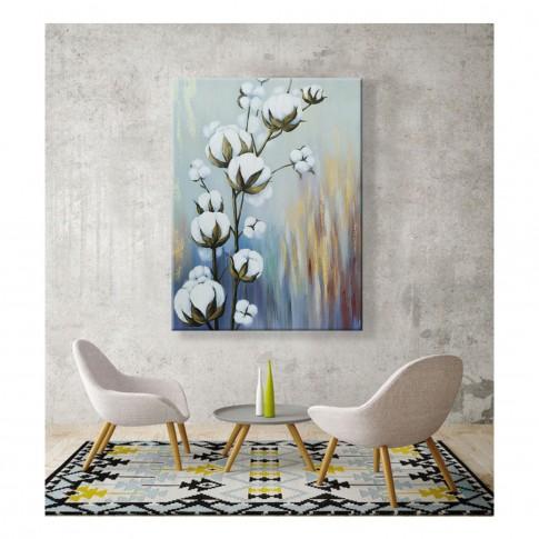 Tablou canvas XM20506, floare de bumbac, panza + sasiu lemn, 60 x 80 cm