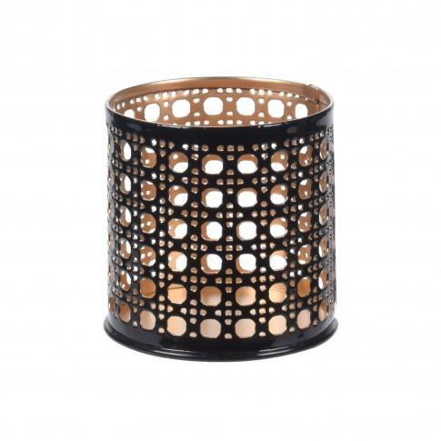 Suport lumanare, Koopman A04932640, metalic, negru + auriu, 6 x 6 cm