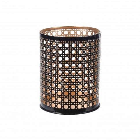 Suport lumanare, Koopman A04932650, metalic, negru + auriu, 10 x 8 cm