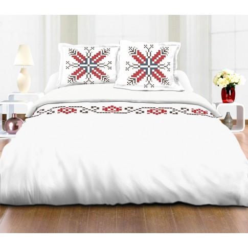 Lenjerie de pat Homebery, 2 persoane, 100 % bumbac, rosu cu imprimeu traditional, 4 piese