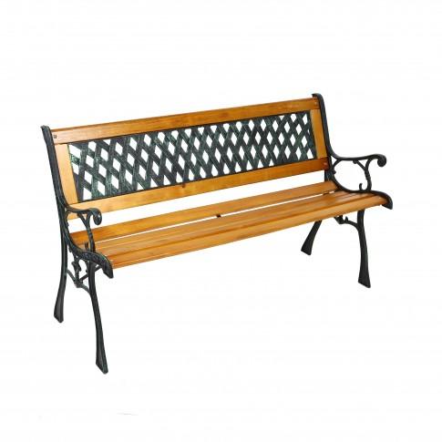 Banca pentru parc, cu spatar, metal + lemn + PVC, natur, 127 x 34 x 73.5 cm