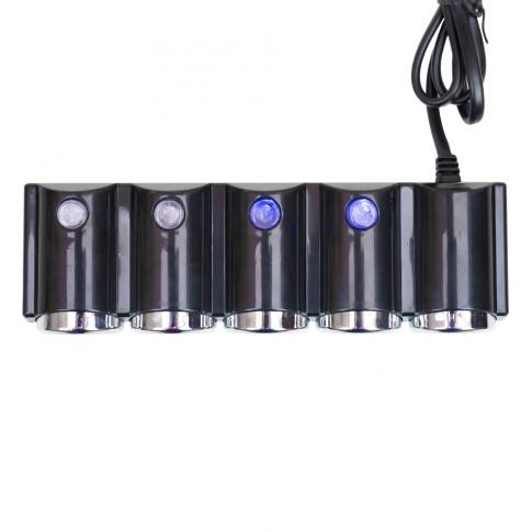 Splitter bricheta auto PNI Lighter 04, cu 4 iesiri 12 V / 24 V + 2 porturi USB, indicator LED