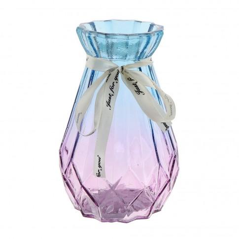 Vaza decorativa SU-2017, sticla, turcoaz + roz, H 15 cm