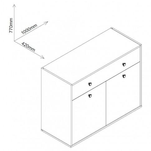 Comoda camera tineret Marvin, cu 2 usi + sertar, stejar grano + cappuccino, 100 x 77 x 42 cm, 2C