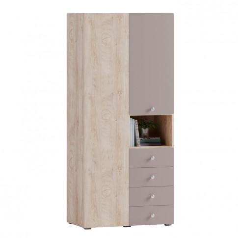 Dulap camera tineret Marvin, cu 2 usi + 4 sertare, stejar grano + cappuccino, 92 x 205 x 52 cm, 2C
