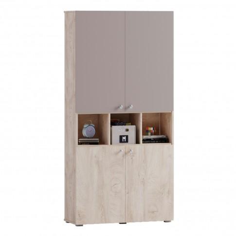 Etajera camera tineret Marvin, cu 4 usi, stejar grano + cappuccino, 100 x 37 x 205 cm, 3C