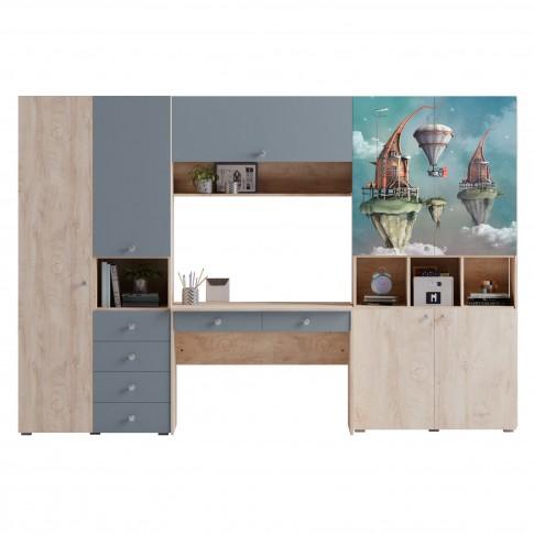 Etajera camera tineret Marvin, cu 4 usi, stejar grano + print P87, 100 x 37 x 205 cm, 3C