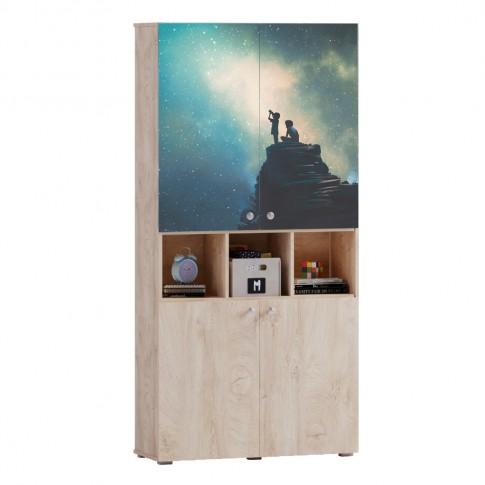 Etajera camera tineret Marvin, cu 4 usi, stejar grano + print P88, 100 x 37 x 205 cm, 3C