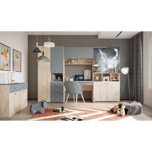 Birou camera tineret Marvin, cu 2 sertare, stejar grano + vernil, 110 x 77 x 55 cm, 1C
