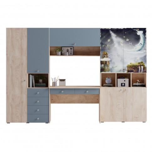 Etajera camera tineret Marvin, cu 4 usi, stejar grano + print P89, 100 x 37 x 205 cm, 3C