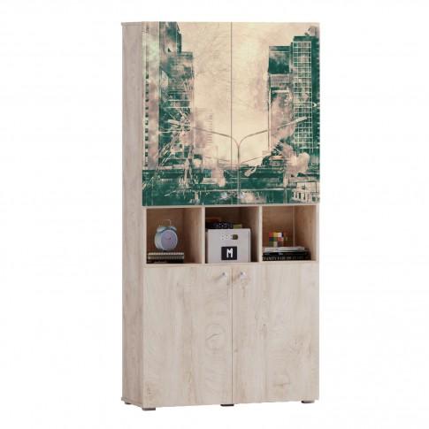 Etajera camera tineret Marvin, cu 4 usi, stejar grano + print P90, 100 x 37 x 205 cm, 3C